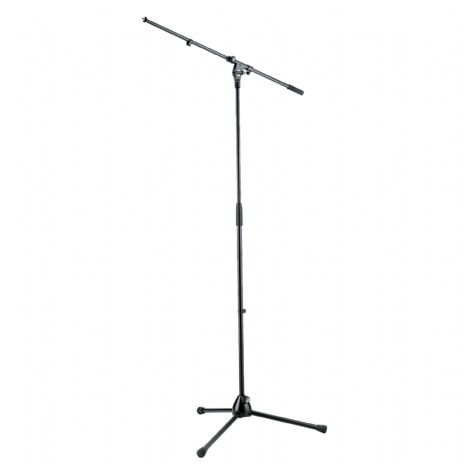 K&M 210/2 Tall Microphone Stand with Fixed Boom - Black